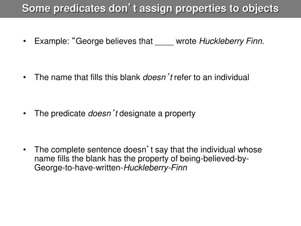 Some predicates don