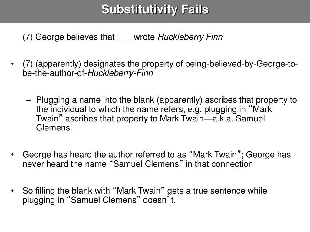 Substitutivity Fails