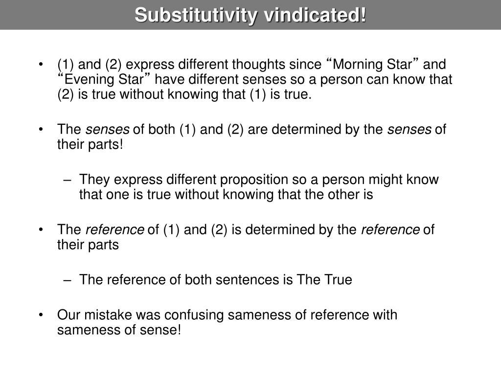 Substitutivity vindicated!