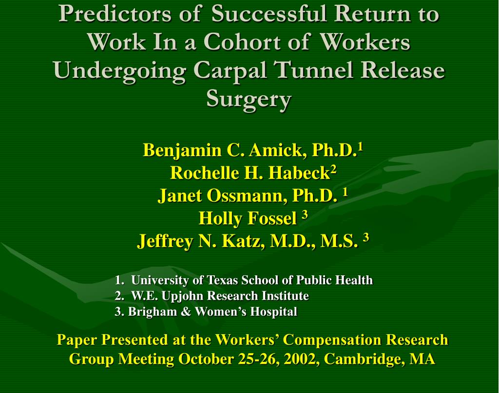 Predictors of Successful Return to Work In a Cohort of Workers Undergoing Carpal Tunnel Release Surgery