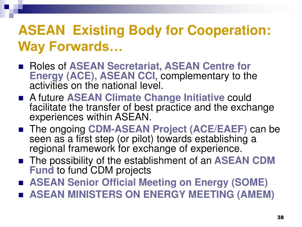 ASEAN  Existing Body for Cooperation: Way Forwards…