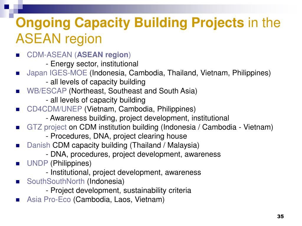 Ongoing Capacity Building Projects