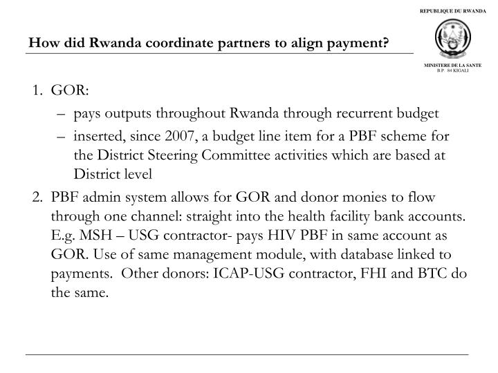 How did Rwanda coordinate partners to align payment?