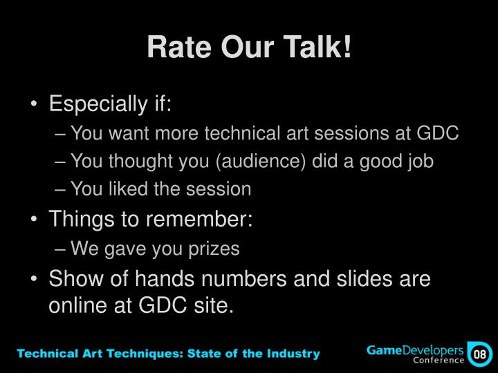 Rate Our Talk!