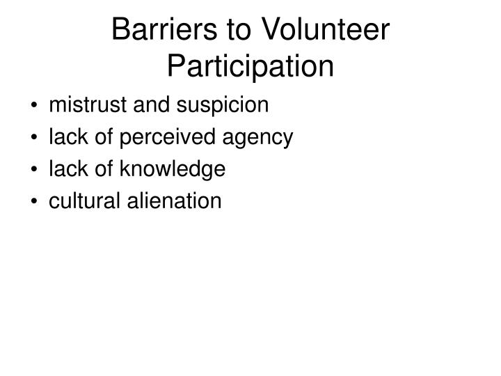 Barriers to Volunteer Participation