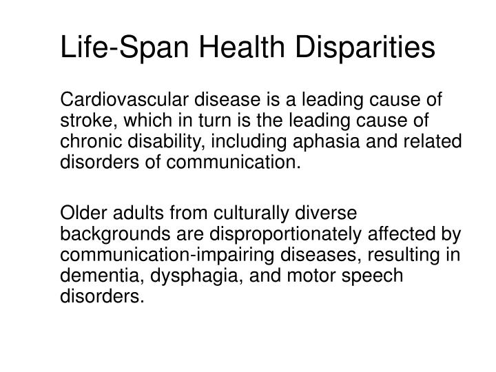Life-Span Health Disparities
