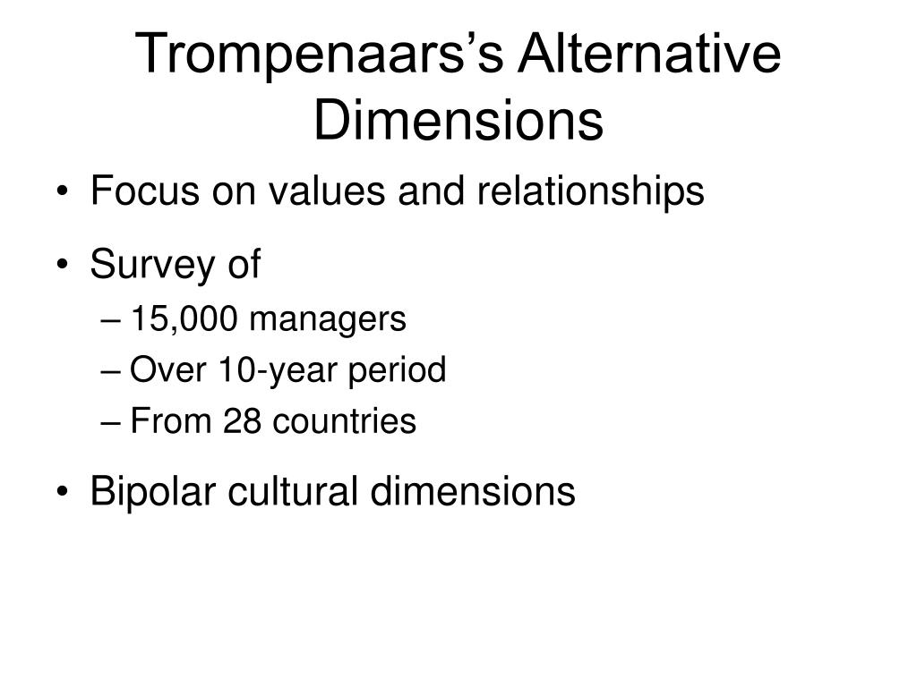 Trompenaars's Alternative Dimensions