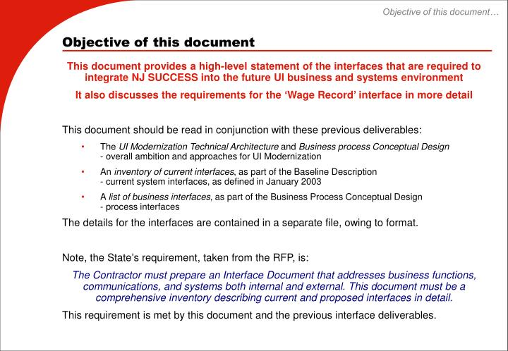 Objective of this document…