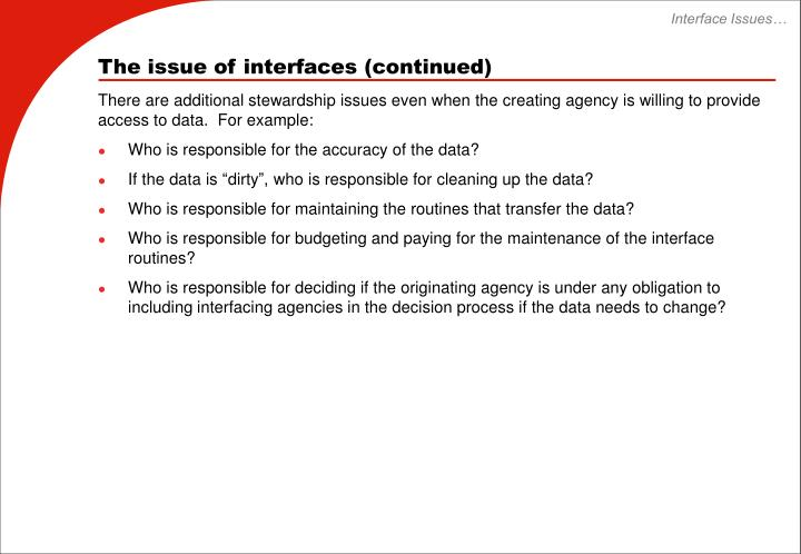 Interface Issues…
