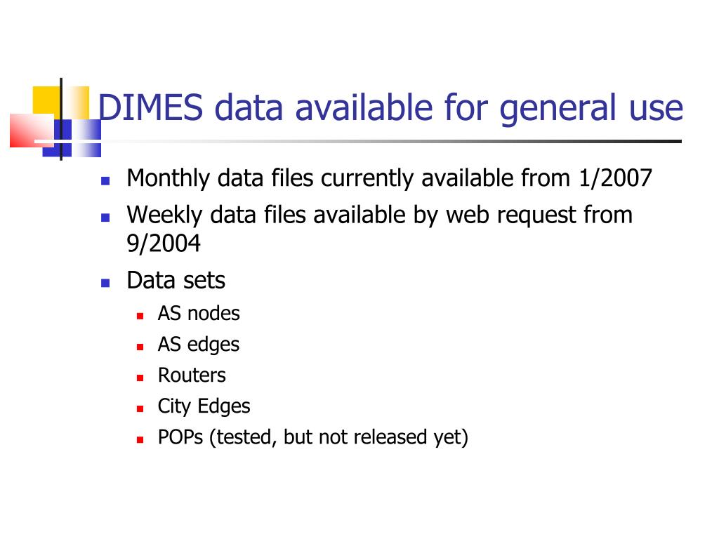 DIMES data available for general use