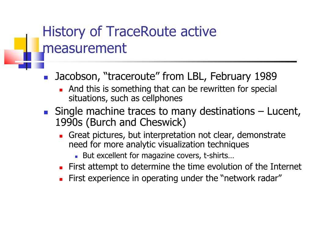 History of TraceRoute active measurement