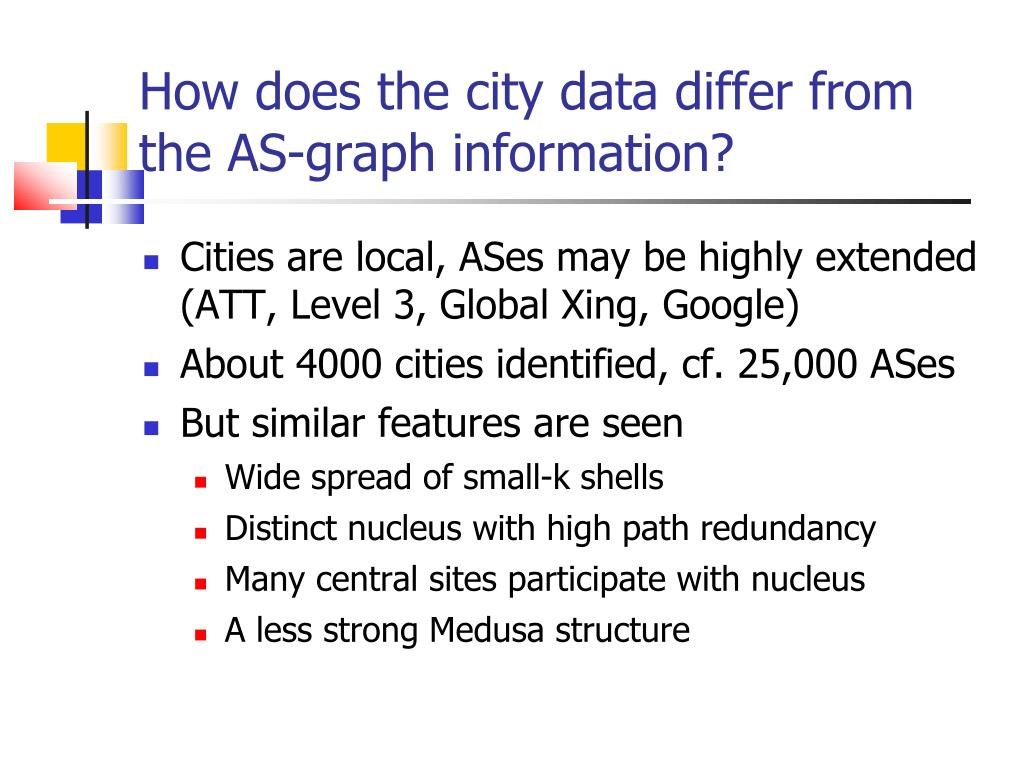 How does the city data differ from the AS-graph information?