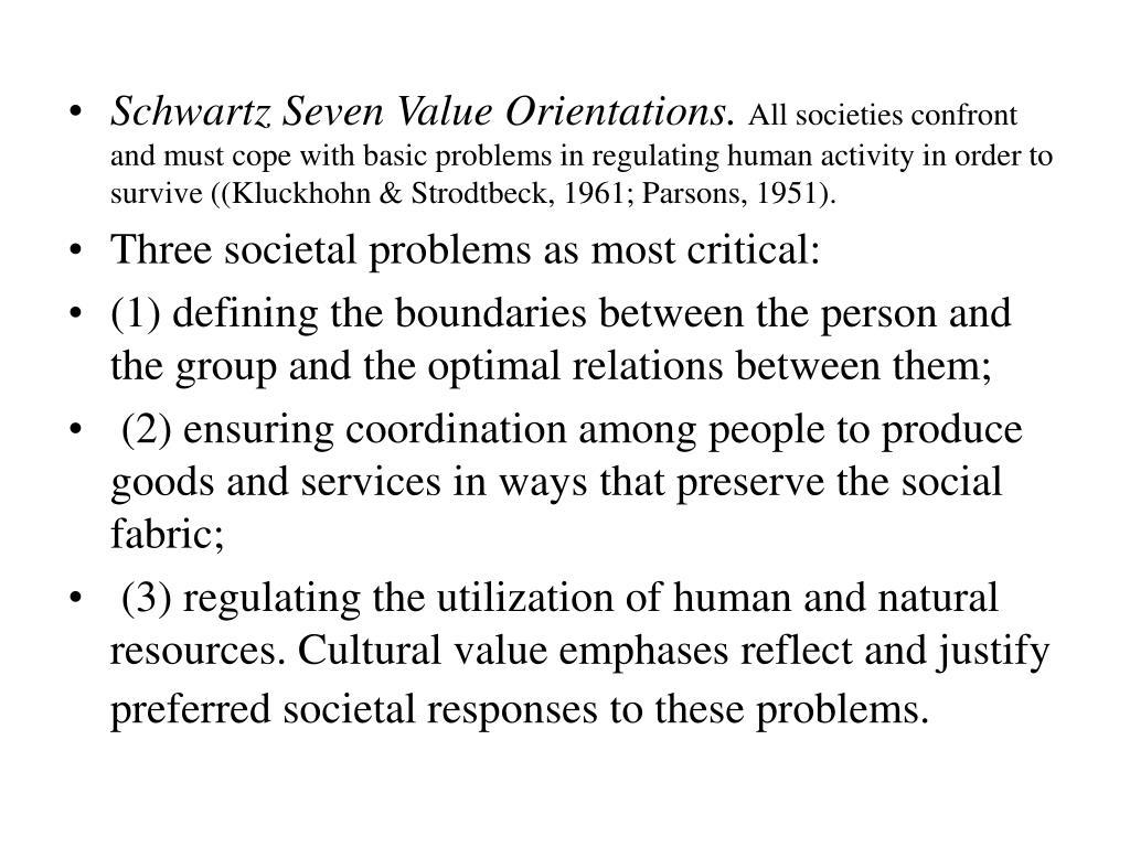 Schwartz Seven Value Orientations.