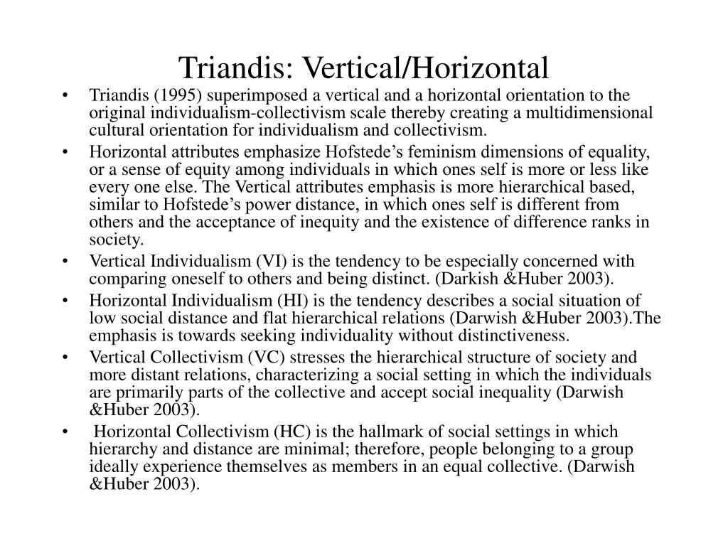 Triandis: Vertical/Horizontal