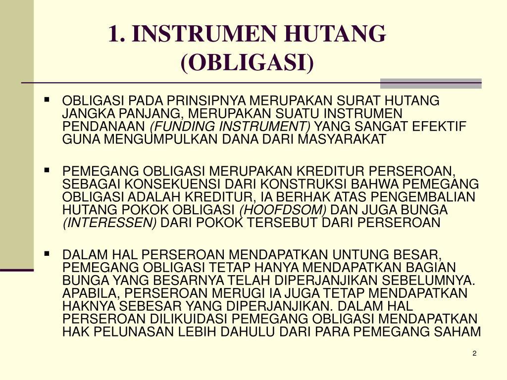 1. INSTRUMEN HUTANG (OBLIGASI)