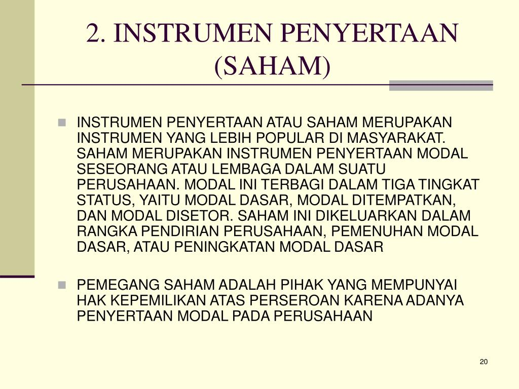 2. INSTRUMEN PENYERTAAN (SAHAM)