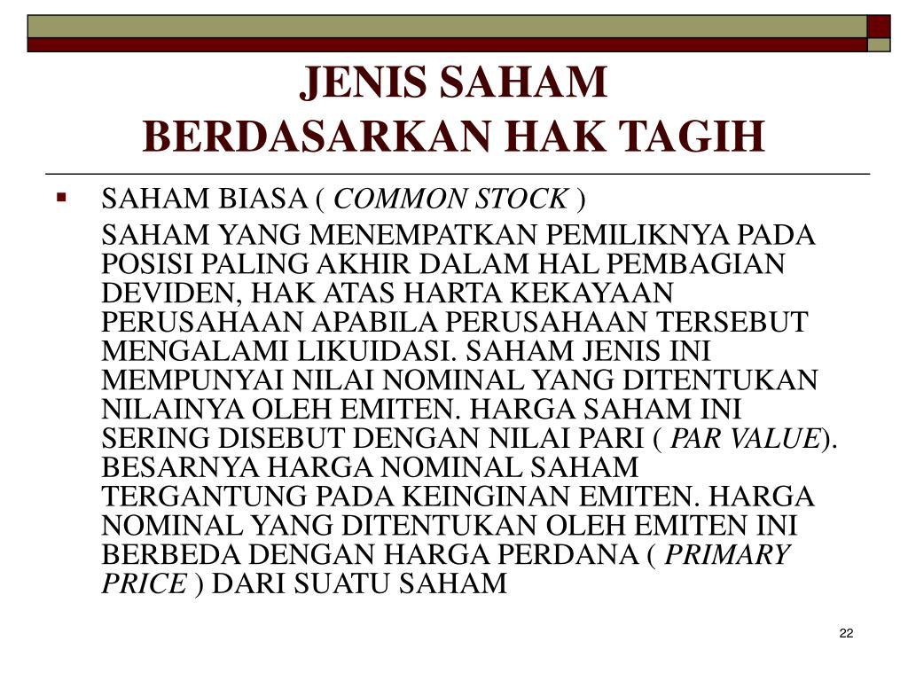 JENIS SAHAM