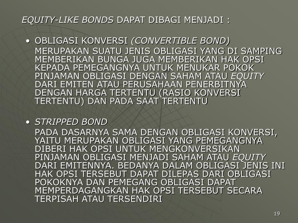 EQUITY-LIKE BONDS