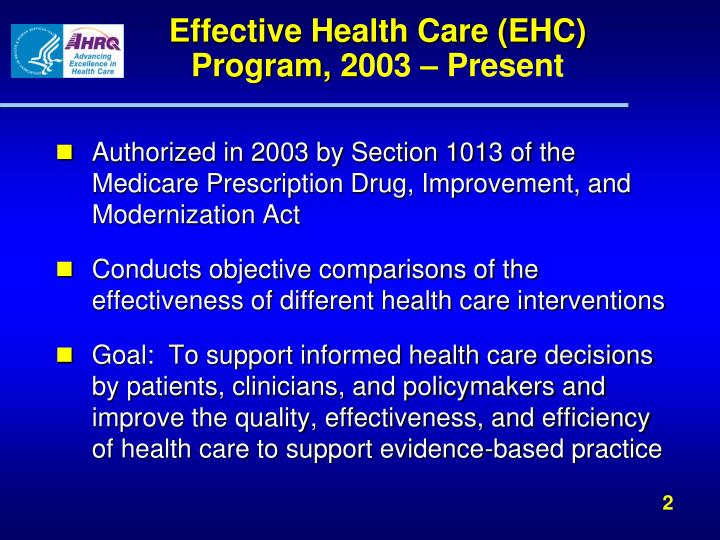 Effective health care ehc program 2 003 present