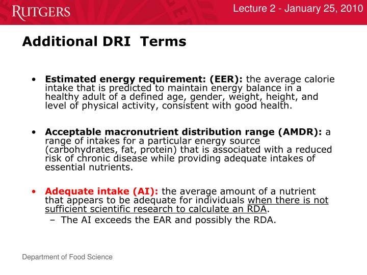 Additional DRI  Terms