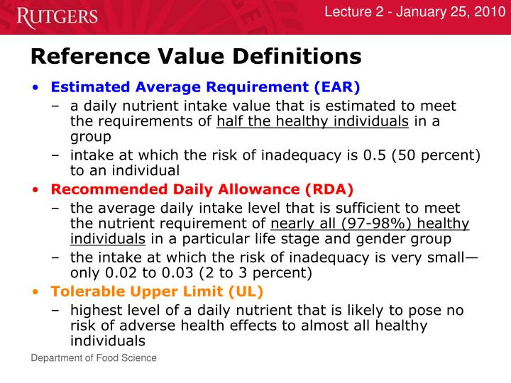 Reference Value Definitions