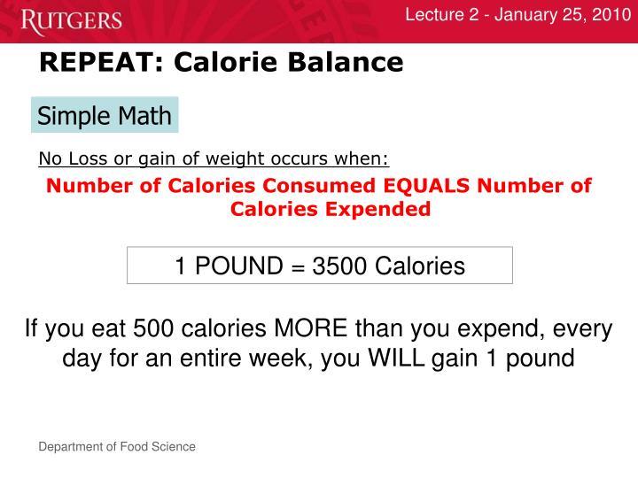 REPEAT: Calorie Balance