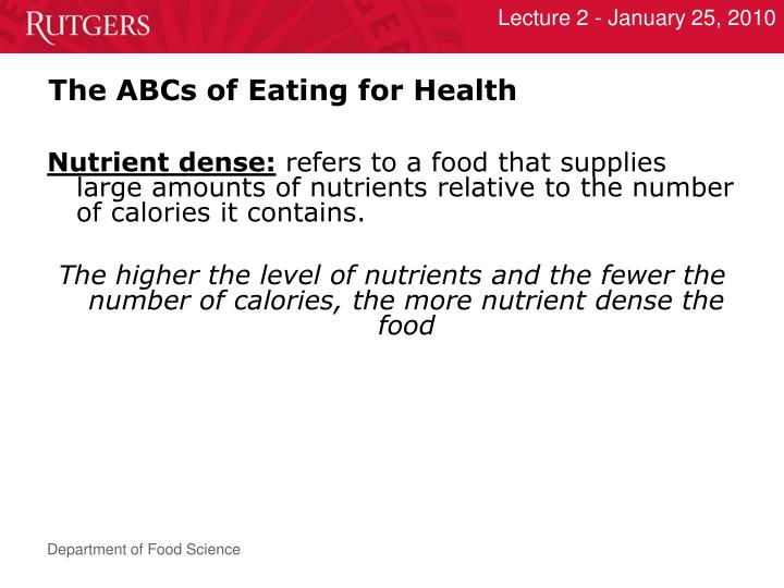 The ABCs of Eating for Health