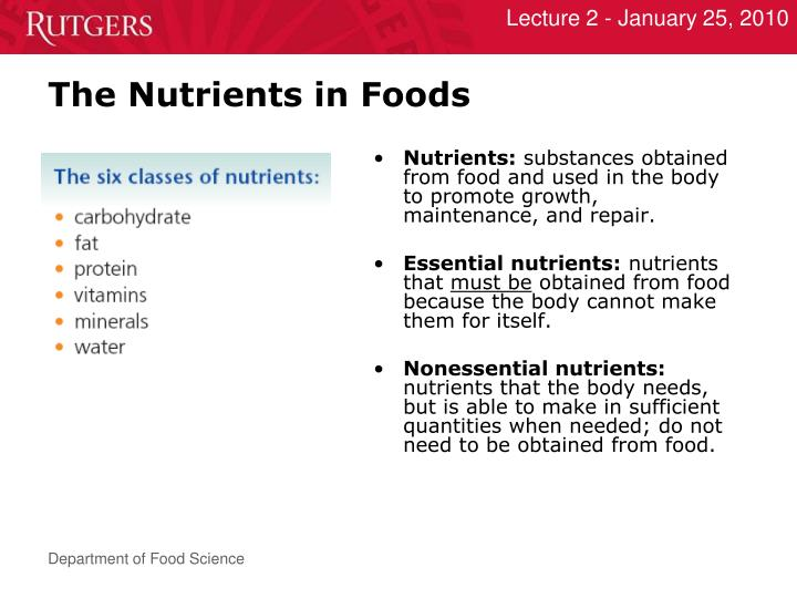 The Nutrients in Foods