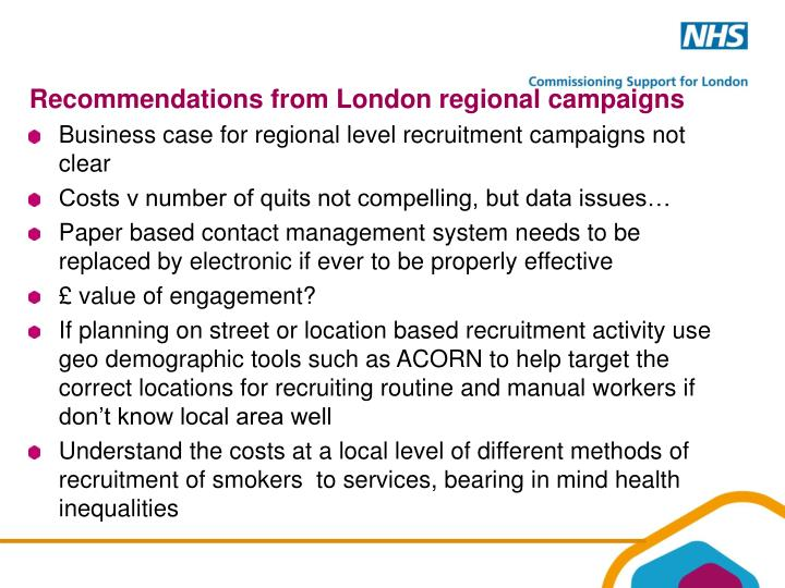 Recommendations from London regional campaigns