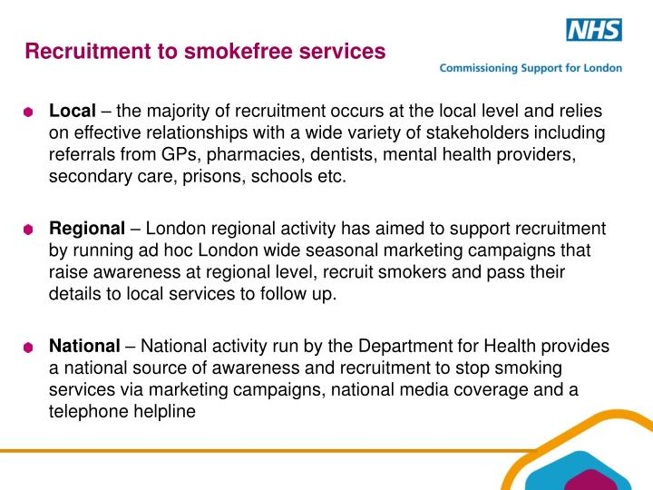 Recruitment to smokefree services