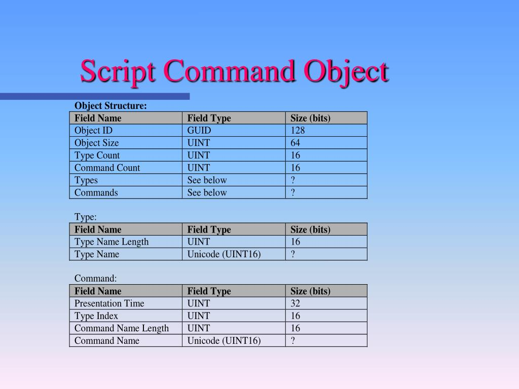Script Command Object