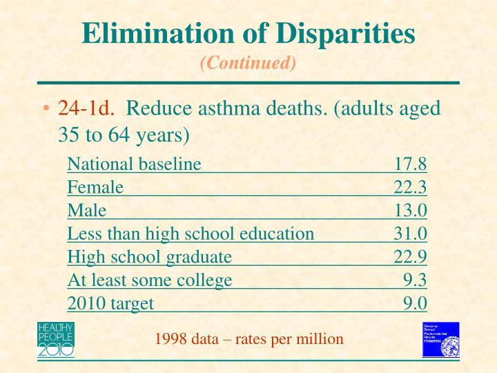 Elimination of Disparities