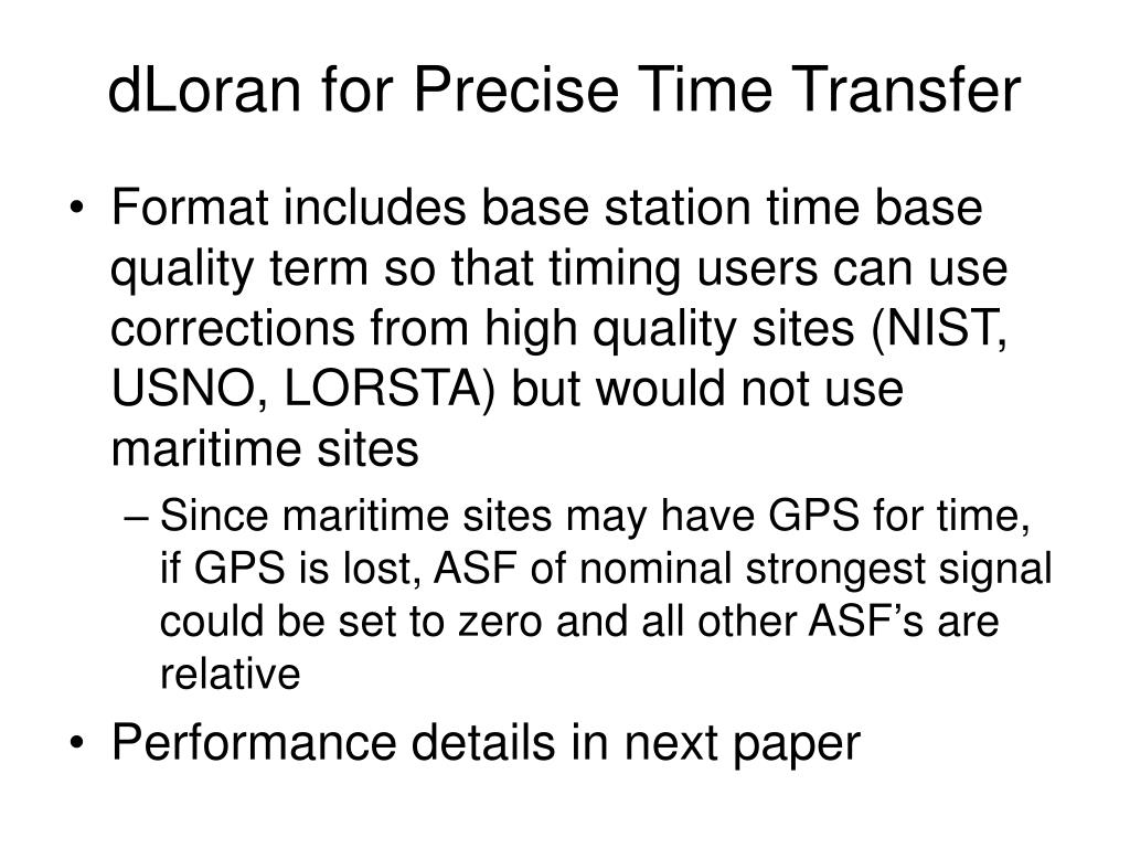 dLoran for Precise Time Transfer