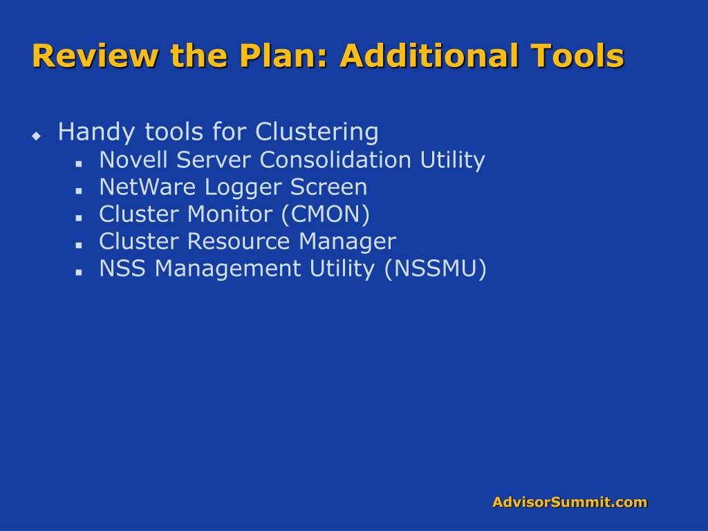 Review the Plan: Additional Tools
