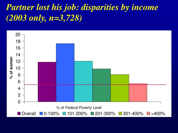 Partner lost his job: disparities by income  (2003 only, n=3,728)