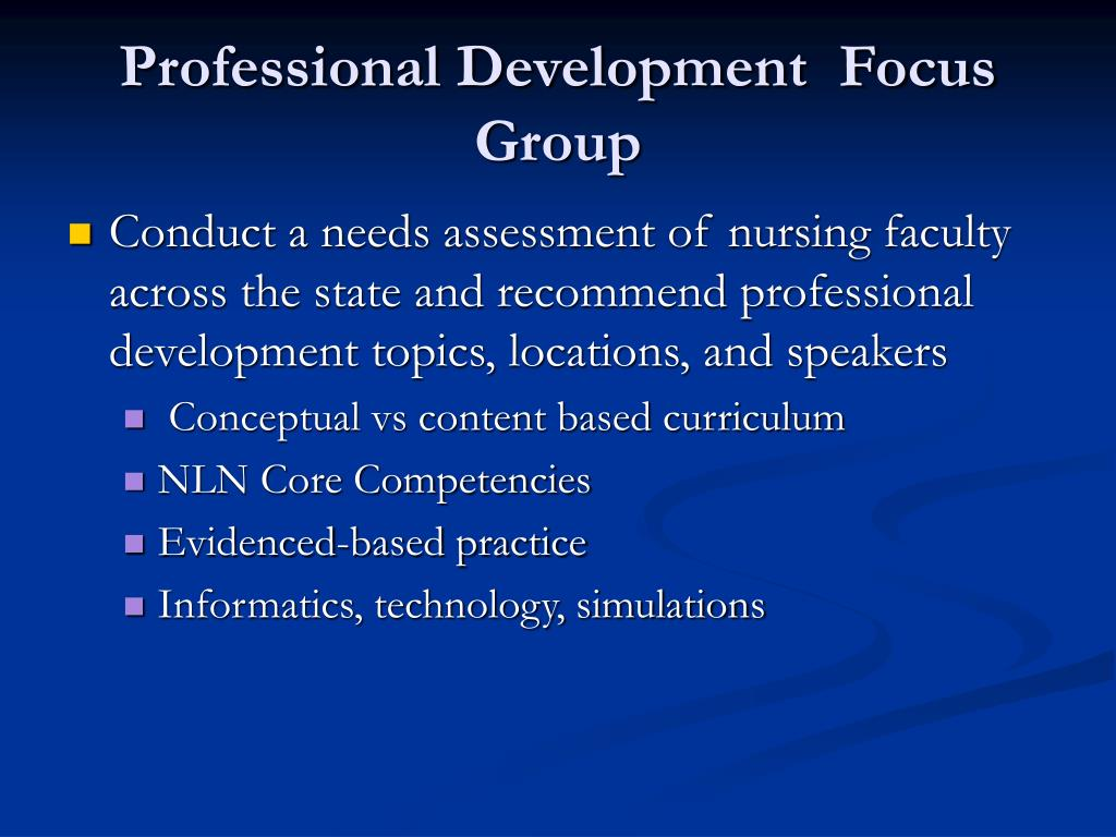 Professional Development  Focus Group