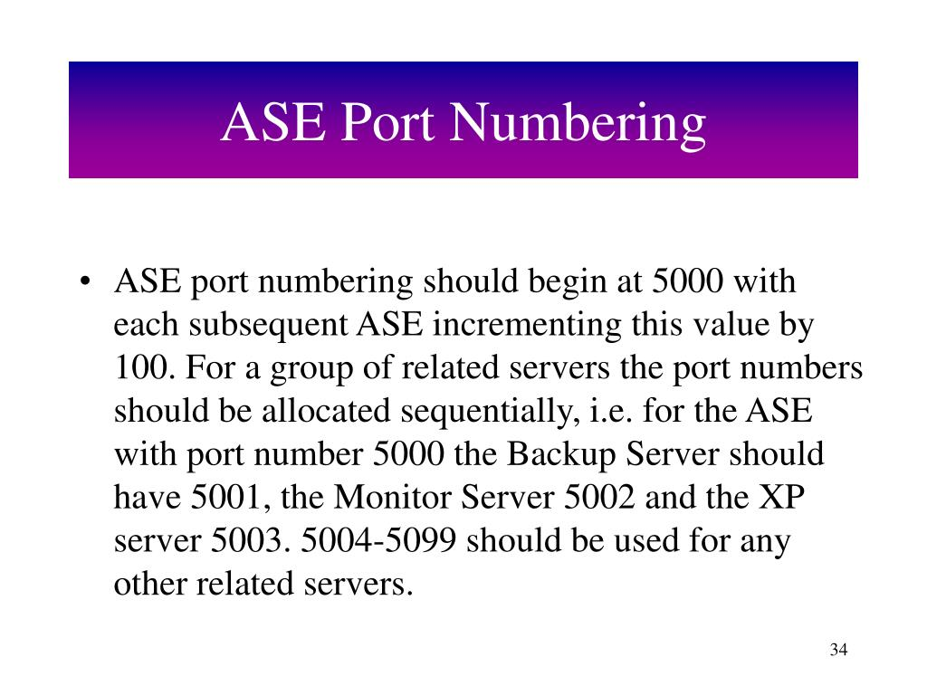 ASE Port Numbering