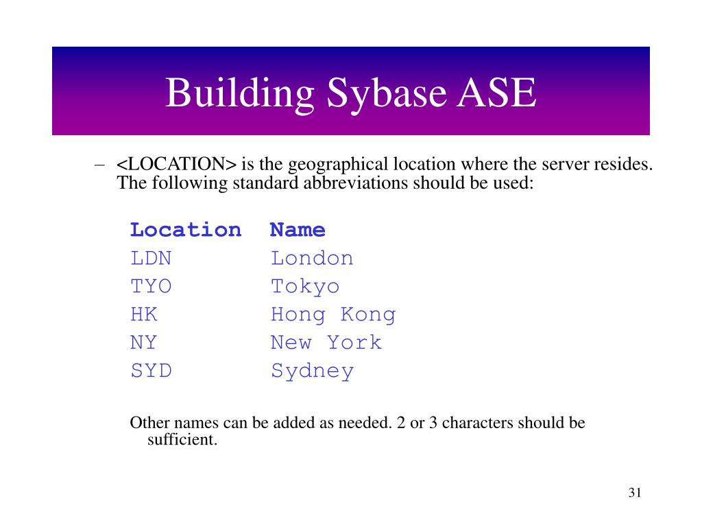 Building Sybase ASE