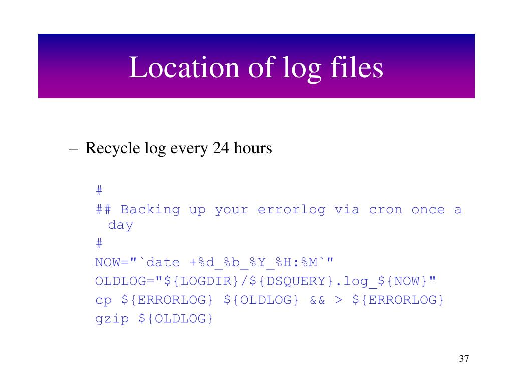 Location of log files