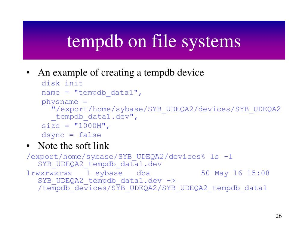 tempdb on file systems