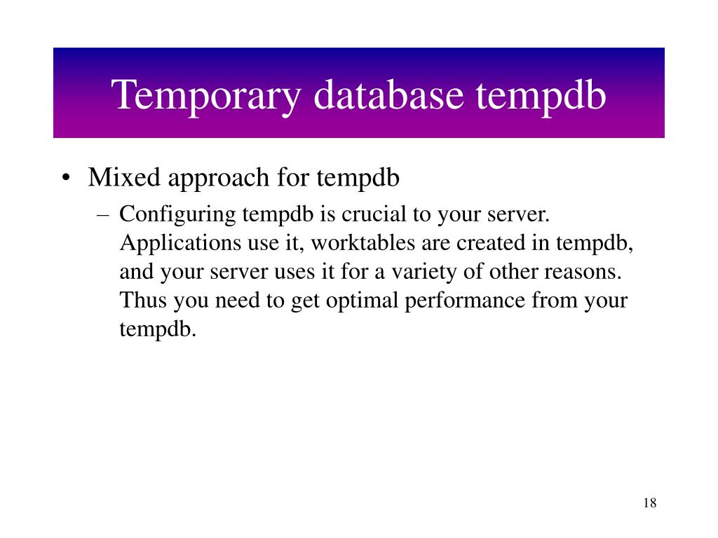 Temporary database tempdb