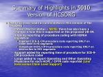 summary of highlights in 5010 version of hcsdrg3