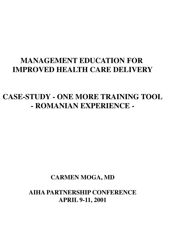 MANAGEMENT EDUCATION FOR