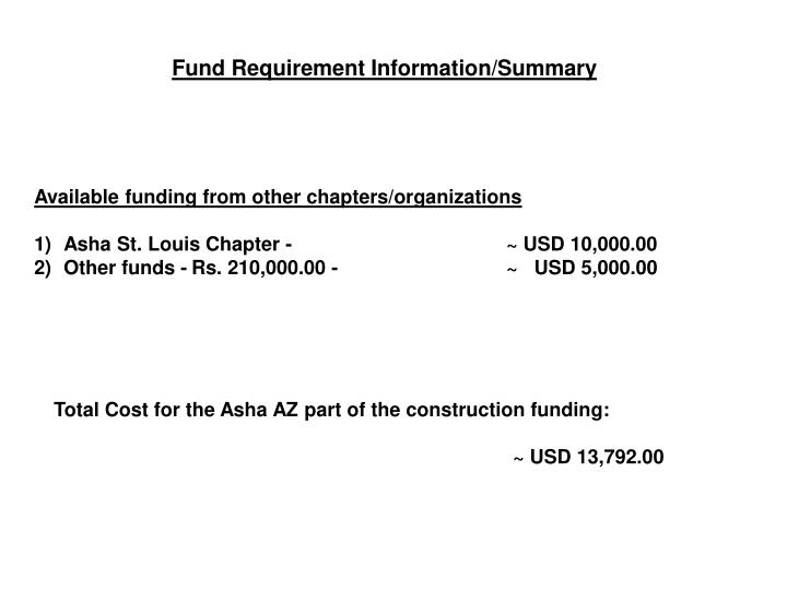 Fund Requirement Information/Summary