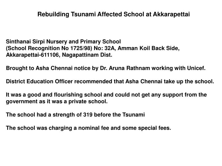 Rebuilding Tsunami Affected School at Akkarapettai