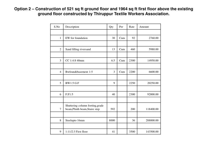 Option 2 – Construction of 521 sq ft ground floor and 1964 sq ft first floor above the existing ground floor constructed by Thiruppur Textile Workers Association.