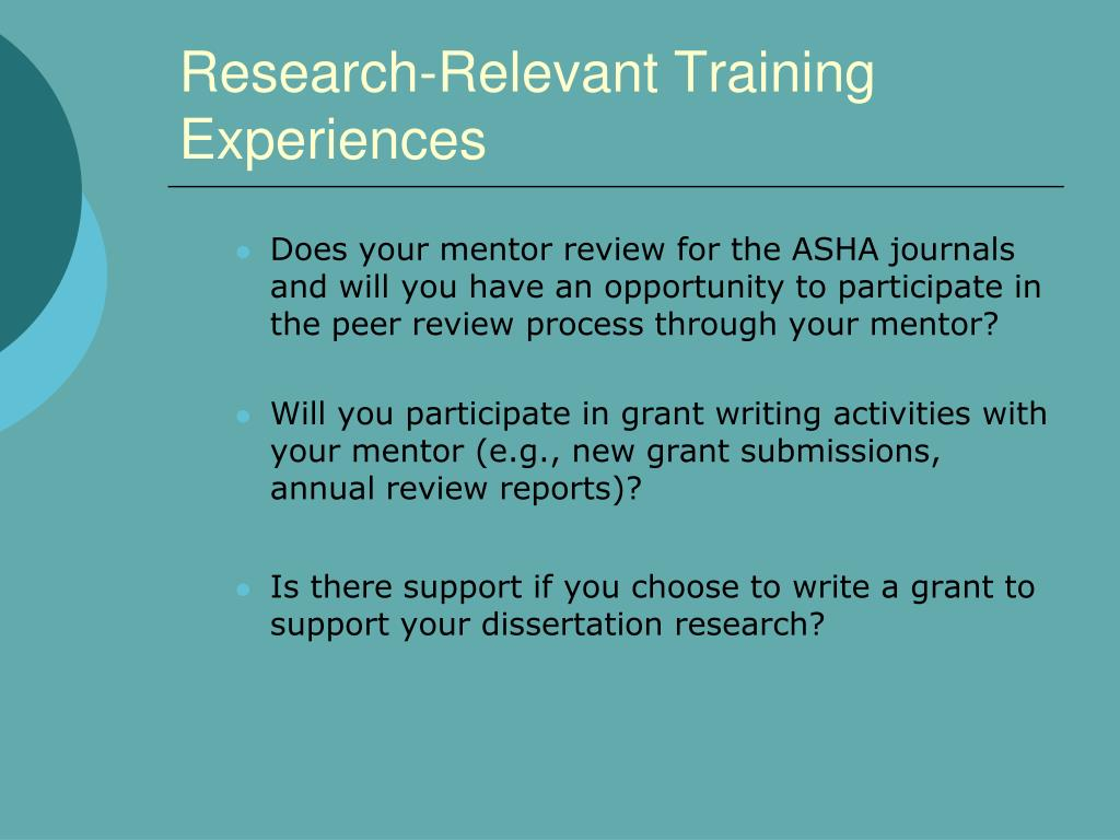 Research-Relevant Training Experiences
