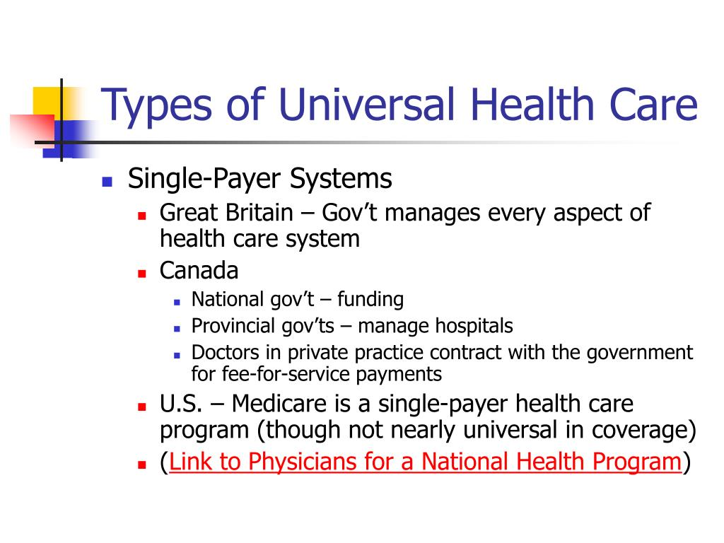 Types of Universal Health Care