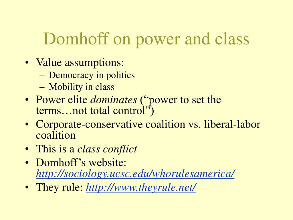 Domhoff on power and class