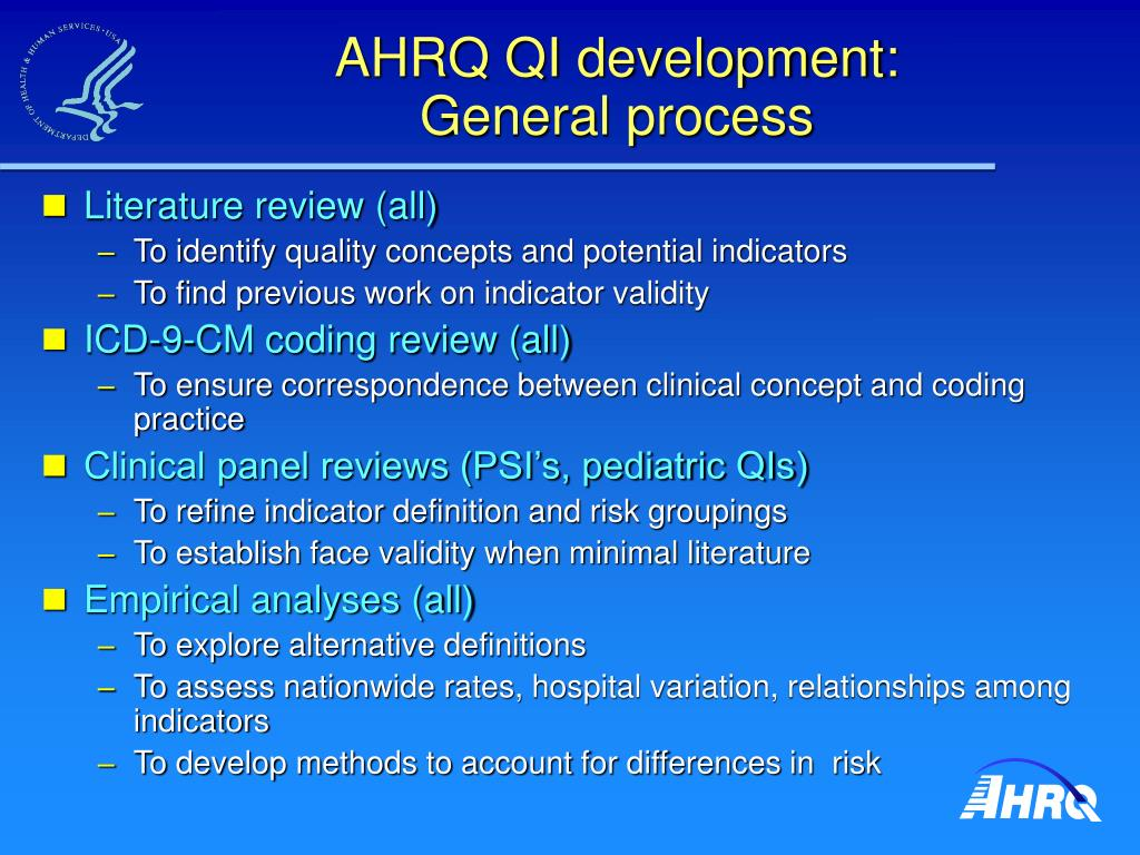 AHRQ QI development: